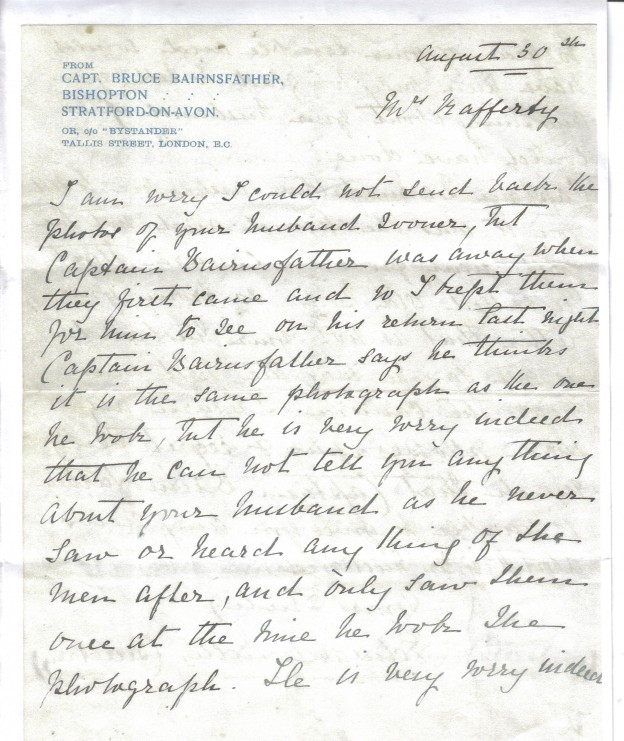 Ltr from Bairnsfather's secretary 30th August