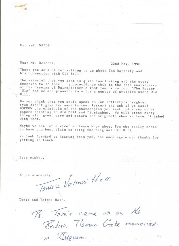 Tonie  and Valmai Holt's letter 1990 001