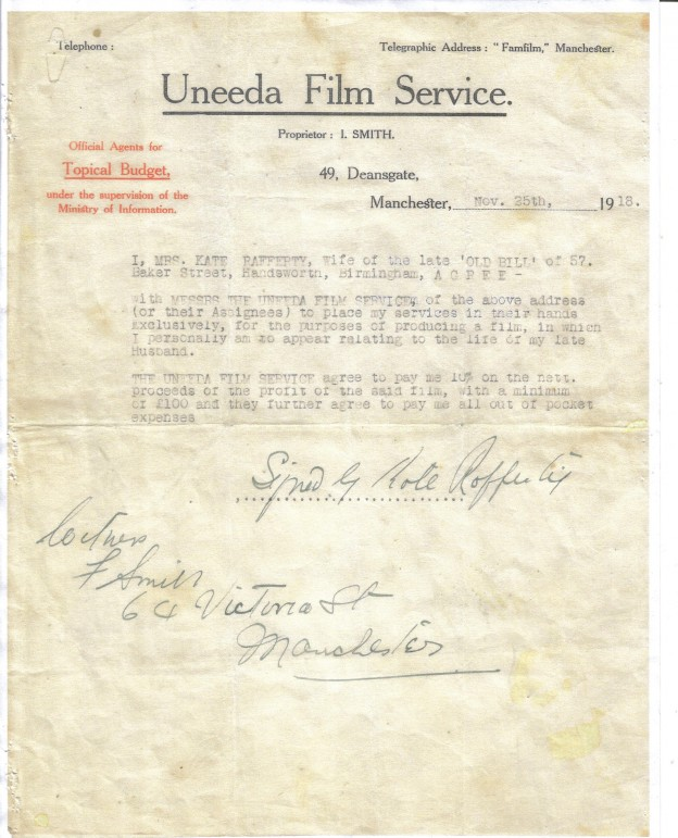 Uneeda Film Service Signed by Kate Rafferty  & I Smith - 64 Victoria St Manchester 25/11/1918